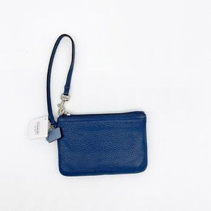 COACH Small Leather Wristlet Wallet Blue NWT